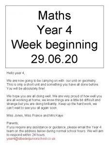 Maths Year 4 Week beginning 29 06 20