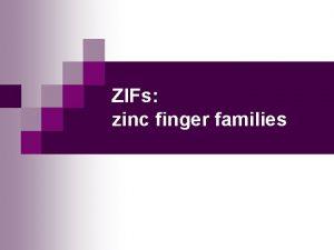 ZIFs zinc finger families MBV 4230 Zinc finger