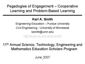 Pegadogies of Engagement Cooperative Learning and ProblemBased Learning