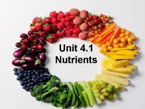 Unit 4 1 Nutrients 4 1 Nutrients What