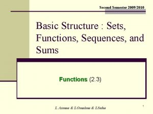 Second Semester 20092010 Basic Structure Sets Functions Sequences