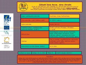 Zkladn kola Rosice okres Chrudim Rosice 97 538