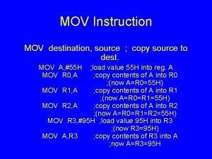 MOV Instruction MOV destination source copy source to