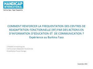 Burkina Faso Niger Programme COMMENT RENFORCER LA FREQUENTATION