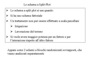Lo schema a SplitPlot Lo schema a split
