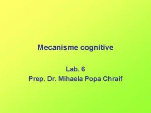 Mecanisme cognitive Lab 6 Prep Dr Mihaela Popa