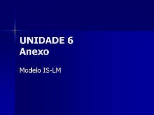 UNIDADE 6 Anexo Modelo ISLM Estrutura Macroeconmica n