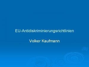 EUAntidiskriminierungsrichtlinien Volker Kaufmann Antidiskriminierungskampagne der Europischen Union Charta
