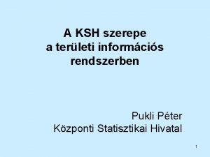 A KSH szerepe a terleti informcis rendszerben Pukli