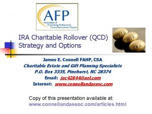 IRA Charitable Rollover QCD Strategy and Options James