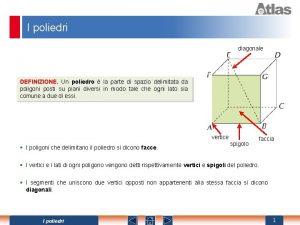 I poliedri diagonale DEFINIZIONE Un poliedro la parte