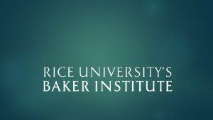About the Baker Institute Rice Universitys Baker Institute