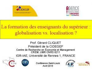La formation des enseignants du suprieur globalisation vs