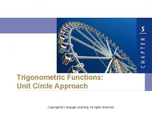 Trigonometric Functions Unit Circle Approach Copyright Cengage Learning