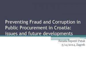 Preventing Fraud and Corruption in Public Procurement in