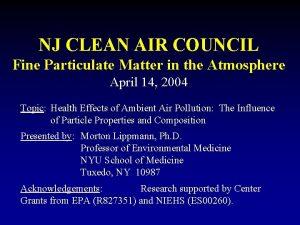 NJ CLEAN AIR COUNCIL Fine Particulate Matter in