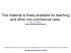 This material is freely available for teaching and