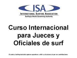 Curso Internacional para Jueces y Oficiales de surf