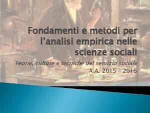 Fondamenti e metodi per lanalisi empirica nelle scienze