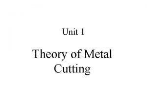 Unit 1 Theory of Metal Cutting Metal Cutting