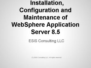 Installation Configuration and Maintenance of Web Sphere Application