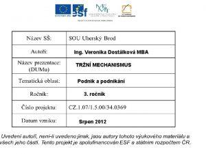 Ing Veronika Dostlkov MBA TRN MECHANISMUS Podnik a