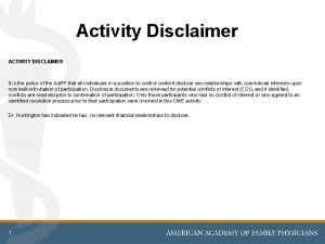 Activity Disclaimer ACTIVITY DISCLAIMER It is the policy