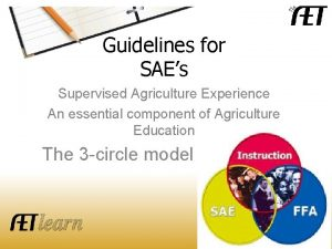 The AET Guidelines for SAEs Supervised Agriculture Experience