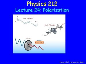 Physics 212 Lecture 24 Polarization Physics 212 Lecture