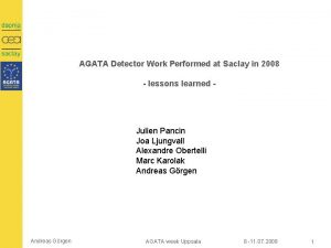 AGATA Detector Work Performed at Saclay in 2008