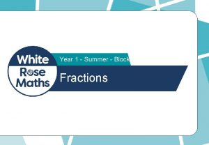 Year 1 Summer Block 2 Fractions Eva and
