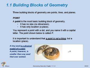 1 1 Building Blocks of Geometry Three building