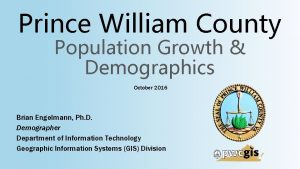 Prince William County Population Growth Demographics October 2016