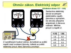 Ohmv zkon Elektrick odpor Uebnice strana 137 140