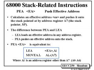 68000 StackRelated Instructions PEA EA Push Effective Address