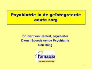 Psychiatrie in de gentegreerde acute zorg Dr Bert