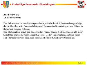 Freiwillige Feuerwehr Eimeldingen Aus FWDV 12 15 2