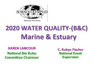 2020 WATER QUALITYBC Marine Estuary KAREN LANCOUR National