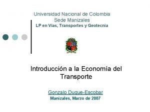 Universidad Nacional de Colombia Sede Manizales LP en