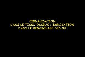SIGNALISATION DANS LE TISSU OSSEUX IMPLICATION DANS LE