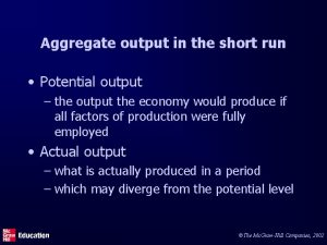 Aggregate output in the short run Potential output