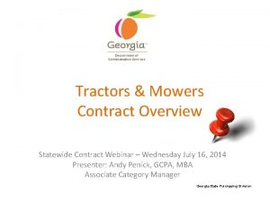 Tractors Mowers Contract Overview Statewide Contract Webinar Wednesday