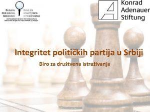 Integritet politikih partija u Srbiji Biro za drutvena