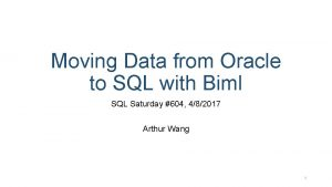 Moving Data from Oracle to SQL with Biml