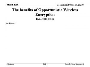 March 2016 doc IEEE 802 11 16313 r