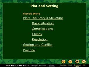 Plot and Setting Feature Menu Plot The Storys