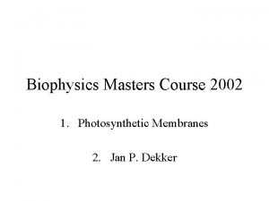 Biophysics Masters Course 2002 1 Photosynthetic Membranes 2