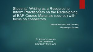 Students Writing as a Resource to Inform Practitioners