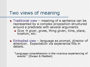 Two views of meaning n Traditional view meaning