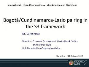 International Urban Cooperation Latin America and Caribbean BogotCundinamarcaLazio